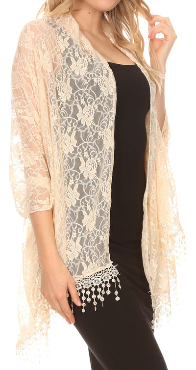 group-Beige Lace (Sakkas Mari Women's Large Lightweight Soft Lace Scarf Wrap Shawl Floral and Fringe)