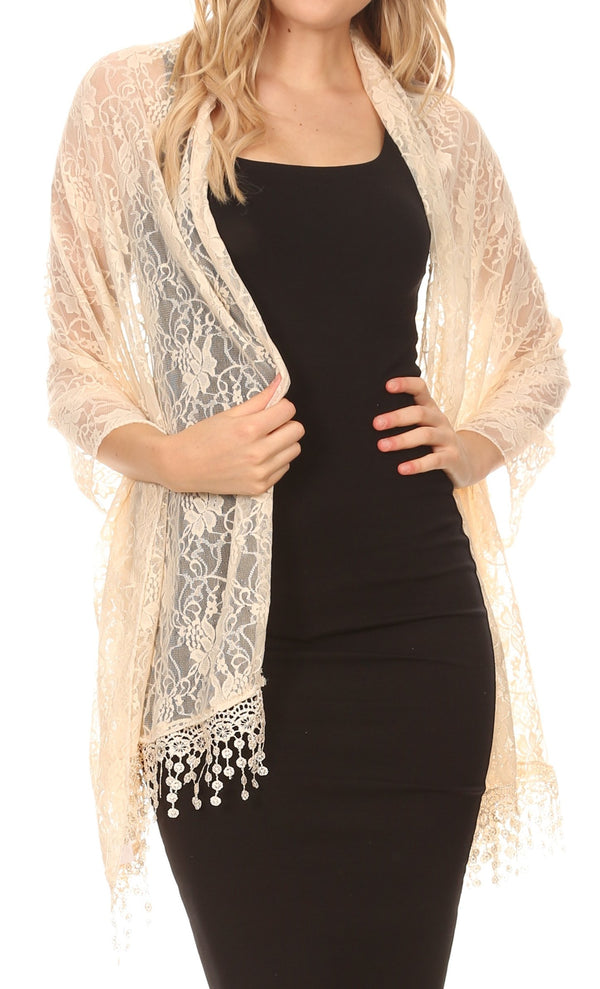 Sakkas Mari Women's Large Lightweight Soft Lace Scarf Wrap Shawl Floral and Fringe#color_Beige Lace