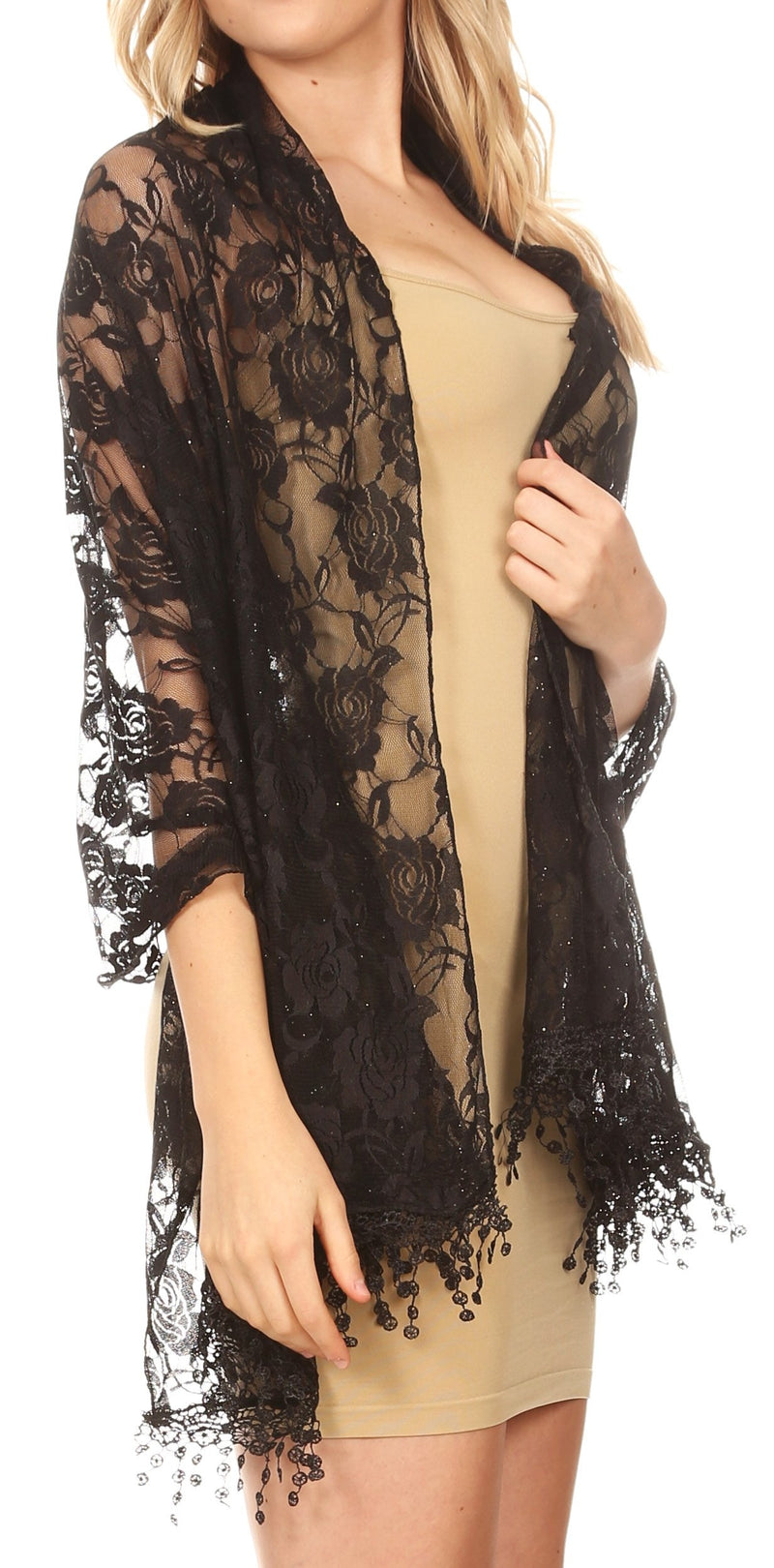 Sakkas Mari Women's Large Lightweight Soft Lace Scarf Wrap Shawl Floral and Fringe