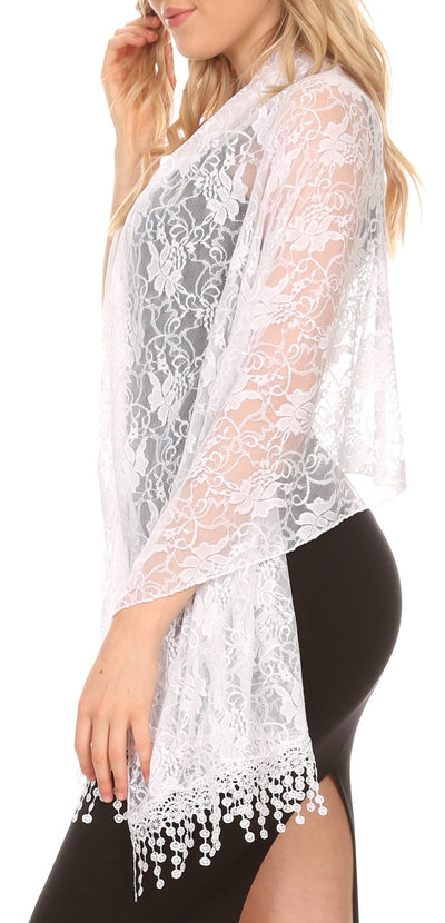 group-White Lace (Sakkas Mari Women's Large Lightweight Soft Lace Scarf Wrap Shawl Floral and Fringe)
