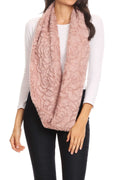 Sakkas Abhy  Soft Fall Winter Furry Infinity Wrap Scarf#color_5-Rose