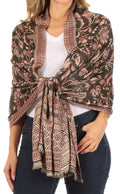 Sakkas Gianna Women's Silky Soft Reversible Floral Woven Pashmina Scarf Shawl Wrap#color_Black