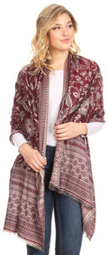 Sakkas Gianna Women's Silky Soft Reversible Floral Woven Pashmina Scarf Shawl Wrap#color_Burgundy