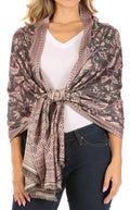 Sakkas Gianna Women's Silky Soft Reversible Floral Woven Pashmina Scarf Shawl Wrap#color_Dark Gray