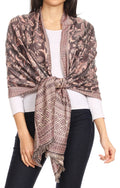 Sakkas Gianna Women's Silky Soft Reversible Floral Woven Pashmina Scarf Shawl Wrap#color_Pink