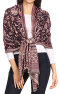Sakkas Gianna Women's Silky Soft Reversible Floral Woven Pashmina Scarf Shawl Wrap#color_Purple