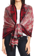 Sakkas Serina Women's Silky Soft Reversible Floral Woven Pashmina Scarf Shawl Wrap#color_Burgundy