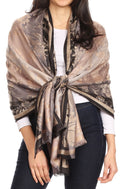 Sakkas Serina Women's Silky Soft Reversible Floral Woven Pashmina Scarf Shawl Wrap#color_Gold