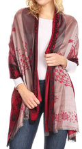 Sakkas Matilde Women's Peacock Floral Light and Soft Reversible Scarf Shawl Wrap#color_Burgundy