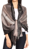 Sakkas Matilde Women's Peacock Floral Light and Soft Reversible Scarf Shawl Wrap#color_Dark Grey
