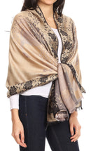 Sakkas Matilde Women's Peacock Floral Light and Soft Reversible Scarf Shawl Wrap