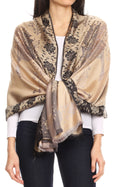 Sakkas Matilde Women's Peacock Floral Light and Soft Reversible Scarf Shawl Wrap#color_Gold