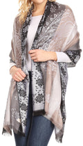 Sakkas Matilde Women's Peacock Floral Light and Soft Reversible Scarf Shawl Wrap#color_Light Grey