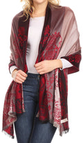 Sakkas Damari Women's Silky Soft Reversible Border Woven Pashmina Scarf Shawl Wrap#color_Burgundy