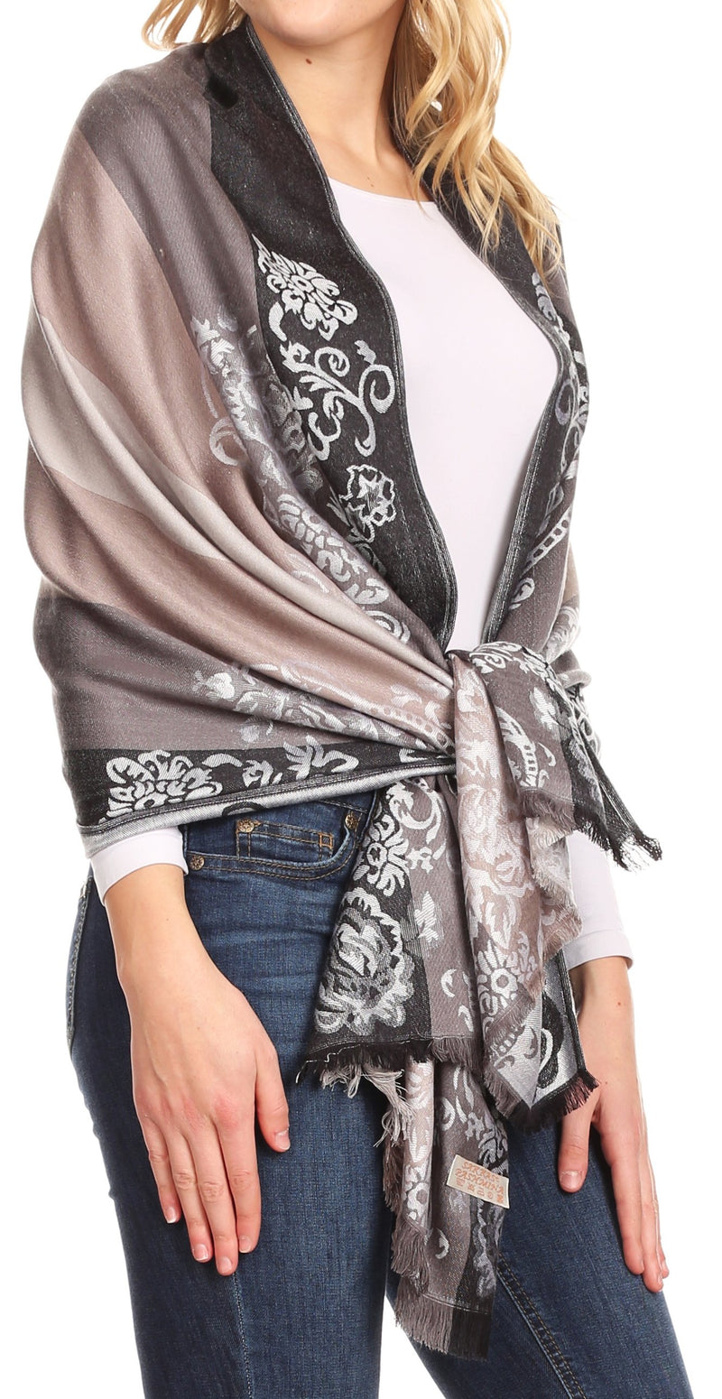 Sakkas Damari Women's Silky Soft Reversible Border Woven Pashmina Scarf Shawl Wrap