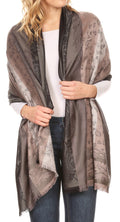 Sakkas Alessa Women's Silky Soft Reversible PaisleyPrint Pashmina Scarf Shawl Wrap#color_Grey