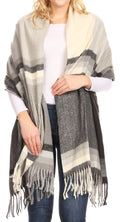 Sakkas Martinna Women's Winter Warm Super Soft and Light Pattern Shawl Scarf Wrap#color_Black/gray