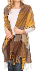 Sakkas Martinna Women's Winter Warm Super Soft and Light Pattern Shawl Scarf Wrap#color_Brown/mustard