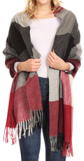 Sakkas Martinna Women's Winter Warm Super Soft and Light Pattern Shawl Scarf Wrap#color_Burgundy/ivory