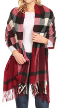 Sakkas Martinna Women's Winter Warm Super Soft and Light Pattern Shawl Scarf Wrap#color_Burgundy/white