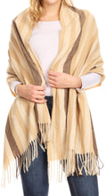 Sakkas Martinna Women's Winter Warm Super Soft and Light Pattern Shawl Scarf Wrap#color_Camel/ivory
