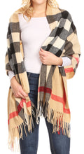 Sakkas Martinna Women's Winter Warm Super Soft and Light Pattern Shawl Scarf Wrap#color_Camel/multi