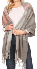 Sakkas Martinna Women's Winter Warm Super Soft and Light Pattern Shawl Scarf Wrap#color_Gray/pink