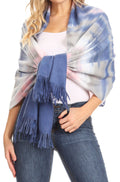 Sakkas Martinna Women's Winter Warm Super Soft and Light Pattern Shawl Scarf Wrap#color_Navy / Multi