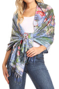 Sakkas Oria Women's Soft Lightweight Colorful Printed Shawl Scarf Wrap Stole#color_Floral 1
