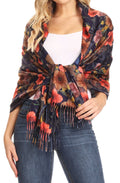 Sakkas Oria Women's Soft Lightweight Colorful Printed Shawl Scarf Wrap Stole#color_Floral 2