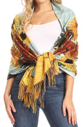 Sakkas Oria Women's Soft Lightweight Colorful Printed Shawl Scarf Wrap Stole#color_Floral 3