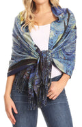 Sakkas Oria Women's Soft Lightweight Colorful Printed Shawl Scarf Wrap Stole#color_Landscape 1