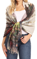 Sakkas Oria Women's Soft Lightweight Colorful Printed Shawl Scarf Wrap Stole#color_Landscape 2