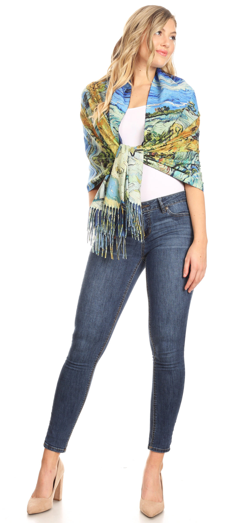 Sakkas Oria Women's Soft Lightweight Colorful Printed Shawl Scarf Wrap Stole