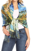 Sakkas Oria Women's Soft Lightweight Colorful Printed Shawl Scarf Wrap Stole#color_Nature 1