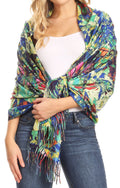 Sakkas Oria Women's Soft Lightweight Colorful Printed Shawl Scarf Wrap Stole#color_Nature 2