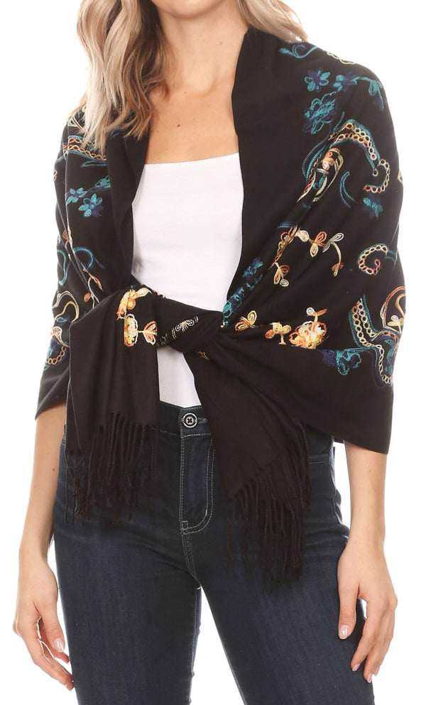 Sakkas Ginata Women's Large Casual Super Soft Embroidery Scarf Shawl Wrap Stole#color_Blue Brown