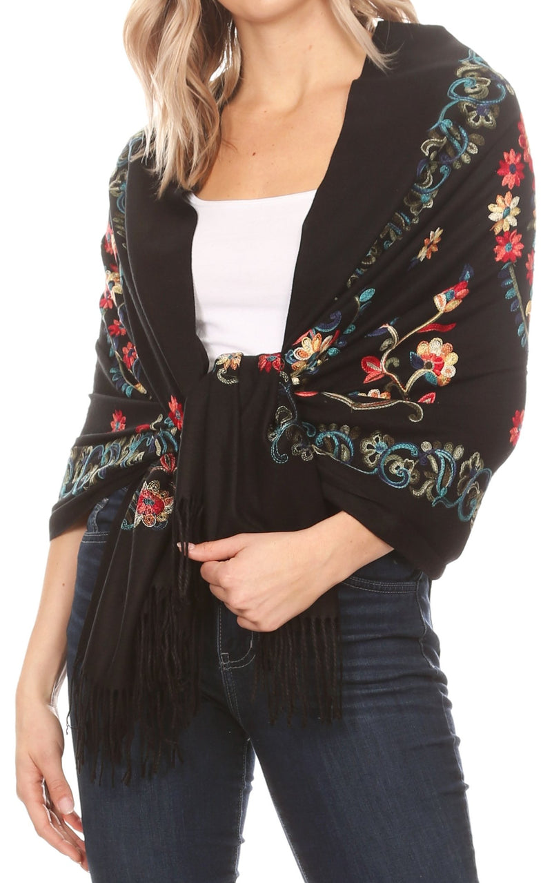 Sakkas Ginata Women's Large Casual Super Soft Embroidery Scarf Shawl Wrap Stole