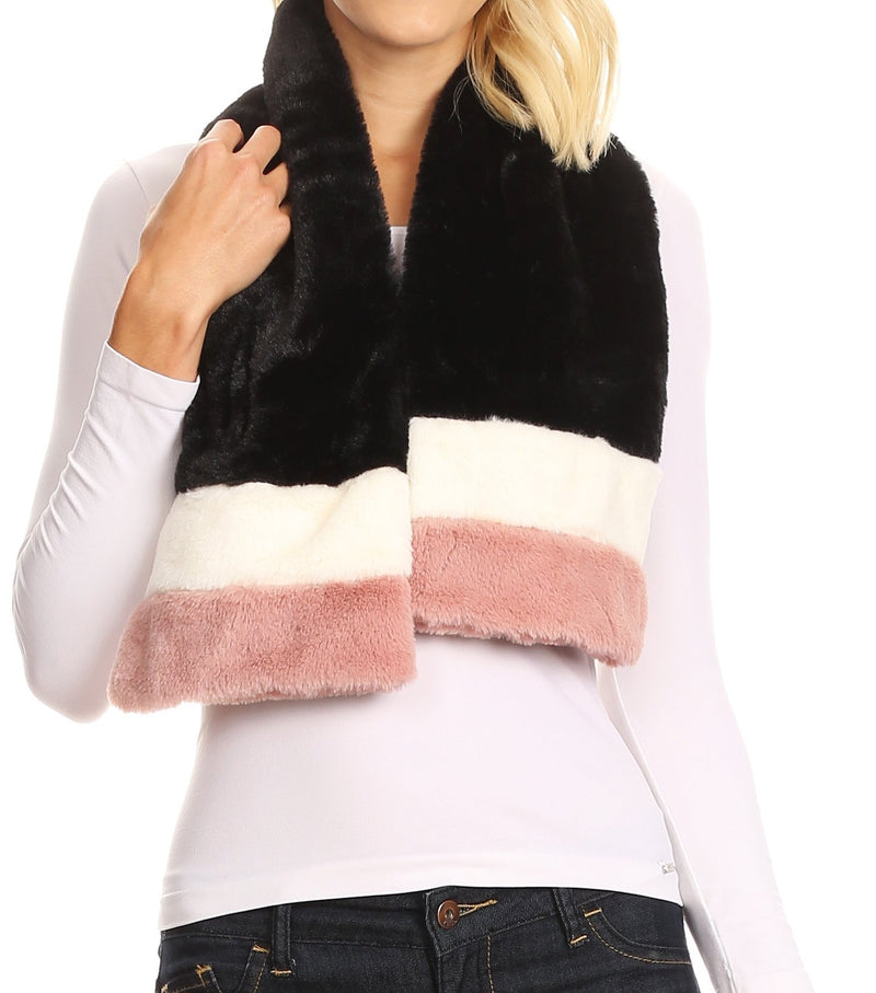 Sakkas Colette Faux Mink Warm Winter Soft Luxurious KeyHole Scarf