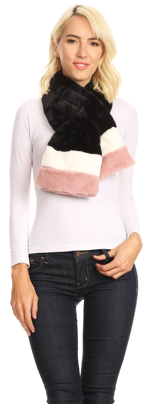 Sakkas Colette Faux Mink Warm Winter Soft Luxurious KeyHole Scarf#color_1784-black