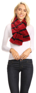 Sakkas Colette Faux Mink Warm Winter Soft Luxurious KeyHole Scarf#color_1785-burgundy