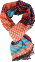 Sakkas Amerigo Patterned Colorful Super Soft and Warm Casual Everyday Scarf Unisex#color_YC16132-Orangeturq