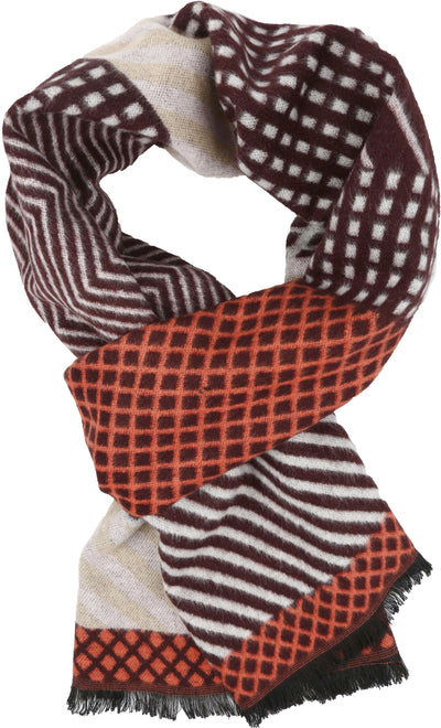 group-YC16132-Brownwhite (Sakkas Amerigo Patterned Colorful Super Soft and Warm Casual Everyday Scarf Unisex)