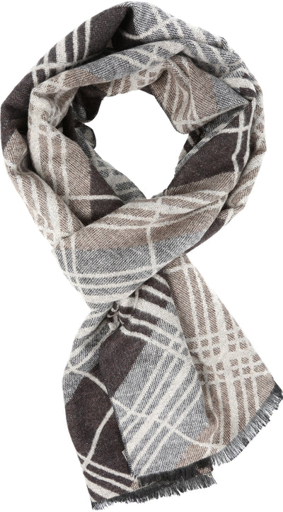 group-YC16133-Blkbrown (Sakkas Amerigo Patterned Colorful Super Soft and Warm Casual Everyday Scarf Unisex)