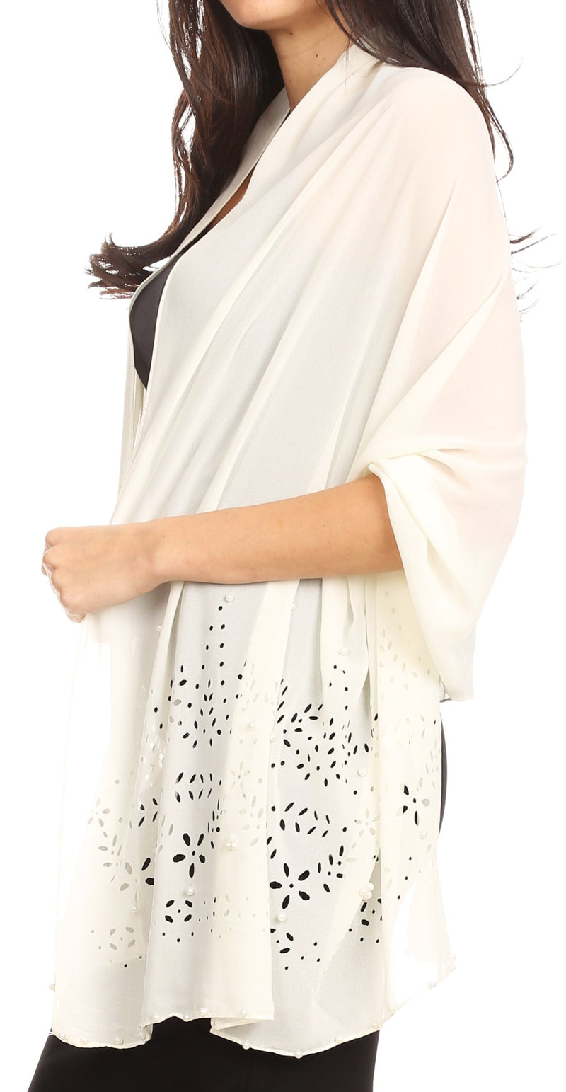 Sakkas Naomi Women Soft Sheer Embellished Chiffon Bridal Wedding Scarf Shawl Wrap
