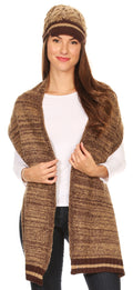 Sakkas Theo Unisex Warm Winter Heather and stripes Knit Hat & Scarf Set#color_Heather brown