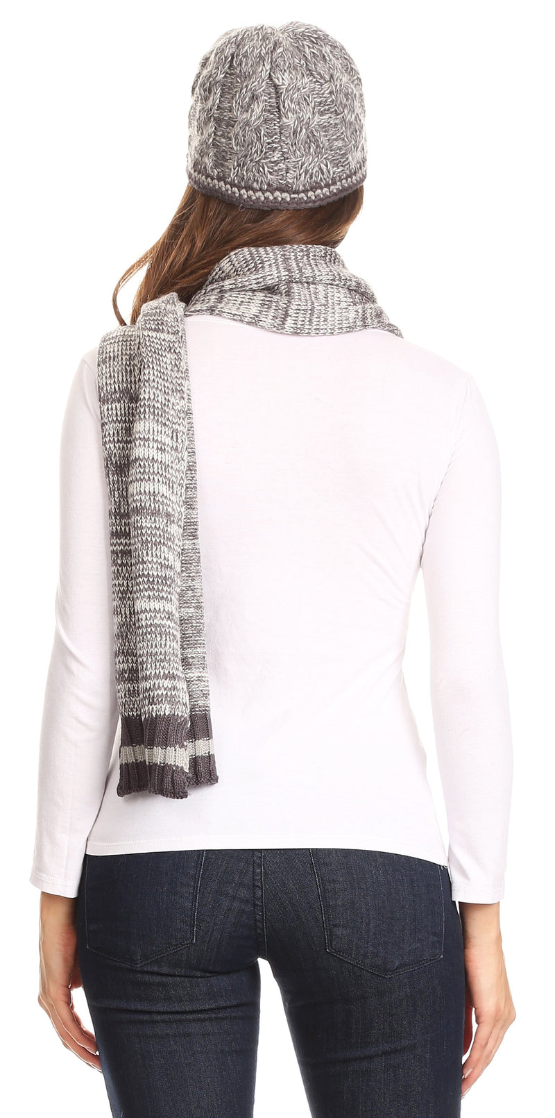 Sakkas Theo Unisex Warm Winter Heather and stripes Knit Hat & Scarf Set