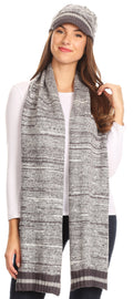 Sakkas Theo Unisex Warm Winter Heather and stripes Knit Hat & Scarf Set#color_Heather Grey