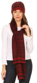 Sakkas Theo Unisex Warm Winter Heather and stripes Knit Hat & Scarf Set#color_Heather red