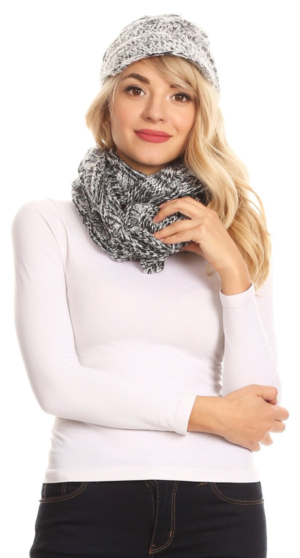 Sakkas Coline Soft Heather Chunky Cable knit Hat and Scarf Set Warm Cozy Winter#color_Black